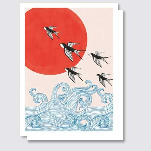 Swallows, Red Sun