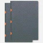 A5 Cahier Lined - Grey/Orange Pack of 2